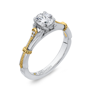 Floral Engagement Ring with Two Tone Gold  Promezza PR0206ECH-44WY-.75