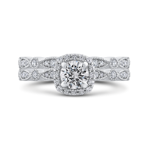 Round Diamond Engagement Ring with Milgrain Shank Promezza PR0228ECH-44W-.50