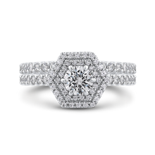 Load image into Gallery viewer, Hexagon Shape Double Halo Engagement Ring Promezza PR0229ECH-44W-.50