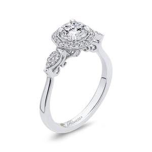 Floral Engagement Ring with Halo Diamond Promezza PR0247EC-44W-.75