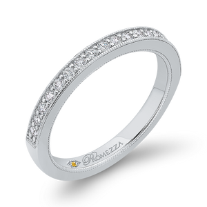 Channel and Pave Diamond Wedding Band Promezza PR0255BH-44W-.50