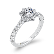 Load image into Gallery viewer, Floral Engagement Ring With Halo Diamond Promezza PR0261ECH-44W-.50
