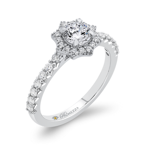 Floral Engagement Ring With Halo Diamond Promezza PR0261ECH-44W-.50