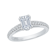 Load image into Gallery viewer, Cathedral Style Engagement Ring with Emerald Cut Diamond Promezza PRE0015EC-02W