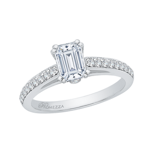 Cathedral Style Engagement Ring with Emerald Cut Diamond Promezza PRE0015EC-02W