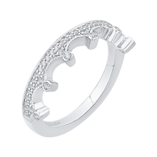 Load image into Gallery viewer, Crown Shape White Gold Wedding Band Promezza PRE0133BH-44W-.50