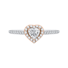 Load image into Gallery viewer, White and Rose Gold Heart Shape Diamond Engagement Ring Promezza PRH0154ECH-44WP-.50