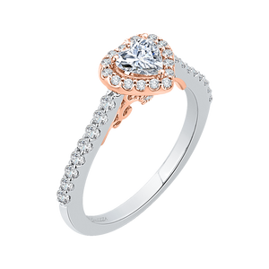 White and Rose Gold Heart Shape Diamond Engagement Ring Promezza PRH0154ECH-44WP-.50