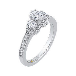 Three-Stone Engagement Ring with Oval Diamond Promezza PRO0035EC-02W