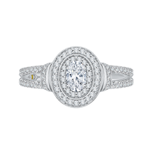Load image into Gallery viewer, Double Halo Oval Diamond Engagement Ring Promezza PRO0137ECH-44W-.40