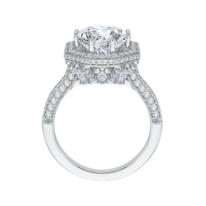 Octagon Shape Halo Engagement Ring with Round Cut Diamond Carizza Boutique QR0047K-40W