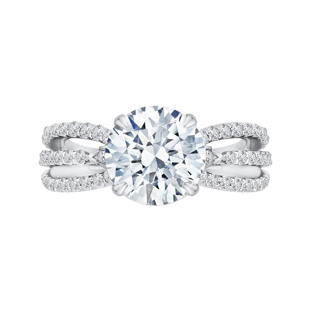 Split Shank Round Diamond Engagement Ring Carizza Boutique QRO0034K-40W