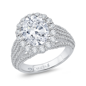 Five Row Oval Diamond Engagement Ring Carizza Boutique QRO0020K-40W