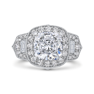Cushion Diamond Halo Engagement Ring Carizza Boutique QRU0062EK-40W-4.00