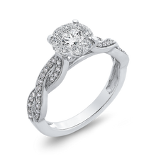 Load image into Gallery viewer, Criss-Cross Shank White Diamond Halo Fashion Ring Luminous RF1040T-42W