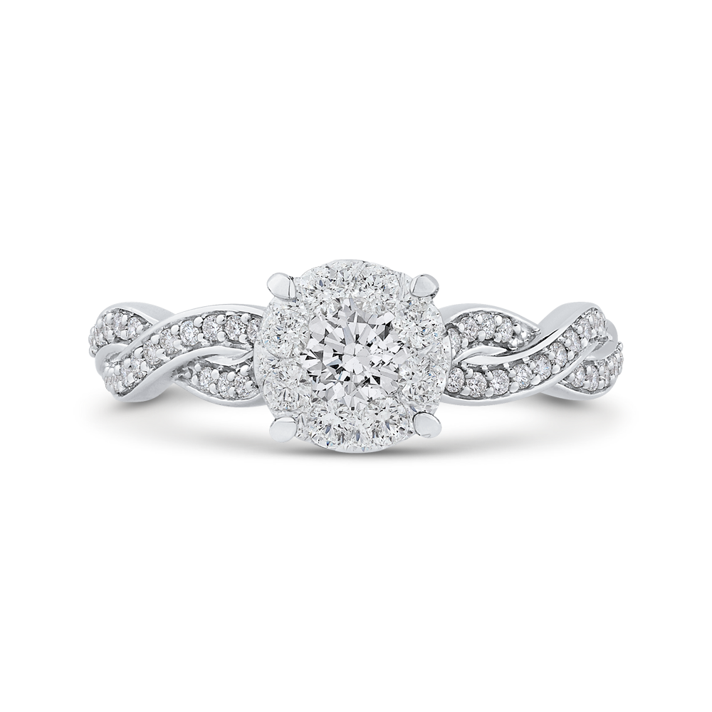 Criss-Cross Shank White Diamond Halo Fashion Ring Luminous RF1040T-42W