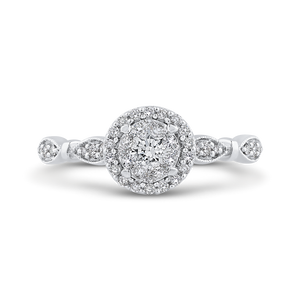 White Gold Round Diamond Halo Fashion Ring Luminous RF1070T-42W