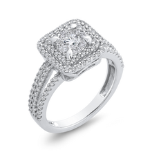 Load image into Gallery viewer, Split Shank White Gold Round Diamond Double Halo Fashion Ring Luminous RF1119T-42W