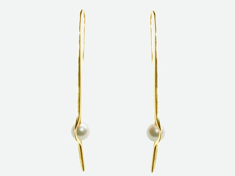 HUKU 10K Gold Earrings - White Pearl