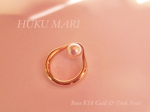 HUKU MARI -K18 ROSE Gold with Japanese sea pearl