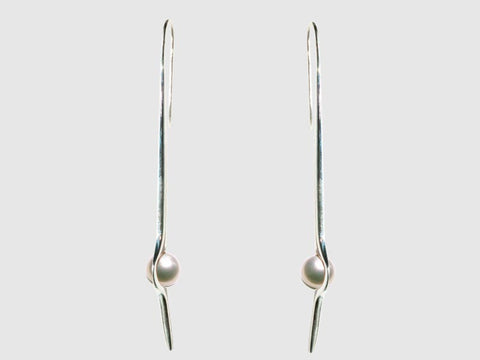HUKU Silver Mirror Finish Earrings - White sea water japanese Pearl - Price indicates in HKD