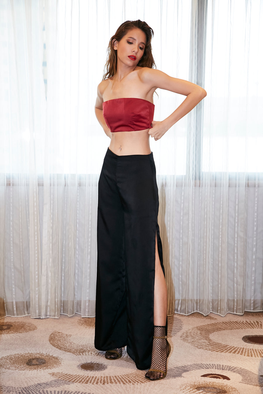 Strapless Top/Black Pants