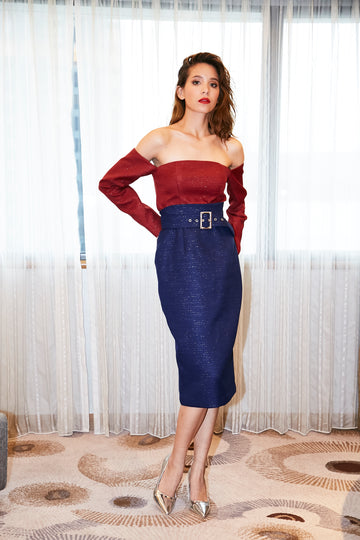 Off Shoulder Top/Metallic Blue Skirt