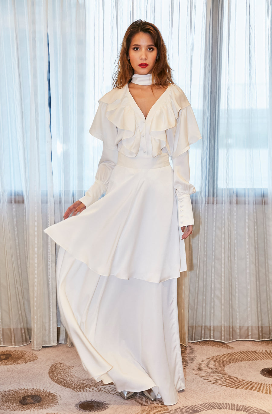 White T-Shirt/White Maxi Skirt