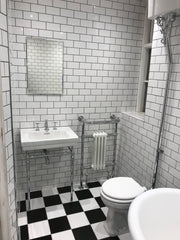 Victorian black and white bathroom wall and floor tiles