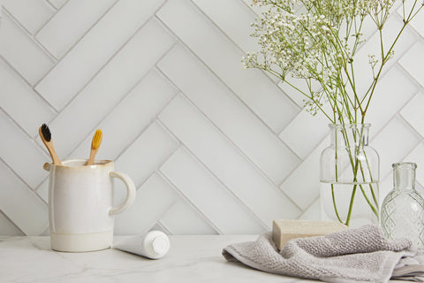 Aurora Herringbone Glass Mosaic White