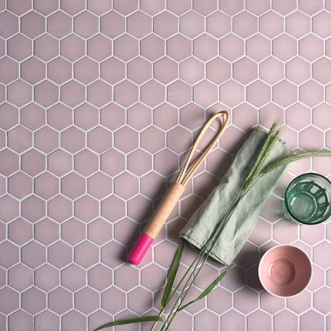 Spa Hexagon Mosaic Pink