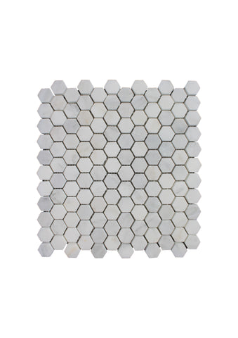Plaka White Marble Small Hexagon Mosaic