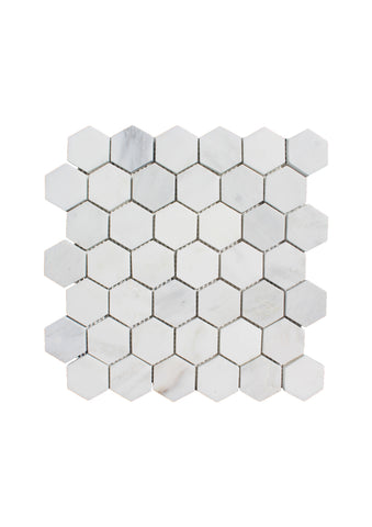 Plaka White Marble Hexagon Mosaic