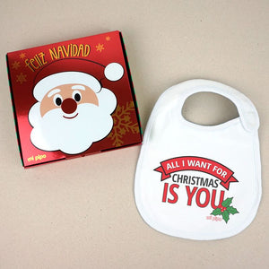 Babero Navideño All I want for Christmas is you - PequeStyle