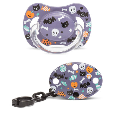 Pack Suavinex Chupete y Broche Halloween Caramelos Lila - PequeStyle
