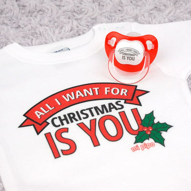 Cajita Navidad Body + Chupete All I want for Christmas is you - PequeStyle