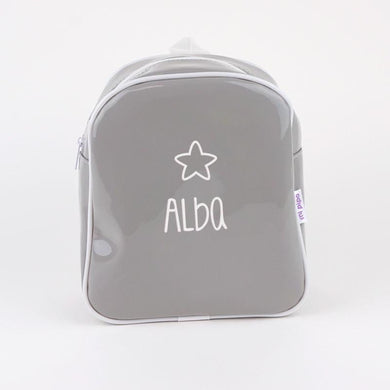Mochilas Gloss Gris Personalizadas - PequeStyle