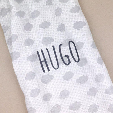 Muselina Nubes Gris Personalizada Mi Pipo - PequeStyle
