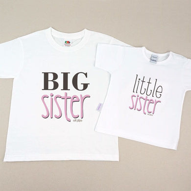 Pack 2 Camisetas Divertidas Niña y Bebé Big sister / Little sister - PequeStyle