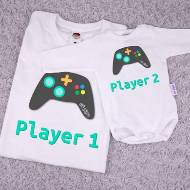 Pack 2 Camisetas Divertidas Papá Player 1/Player 2