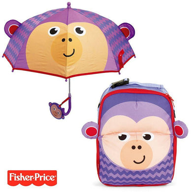 Pack Ahorro Mochila + Paraguas 3D Fisher Price Mono No Personalizables - PequeStyle