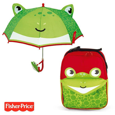 Pack Ahorro Mochila + Paraguas 3D Fisher Price Rana No Personalizables - PequeStyle