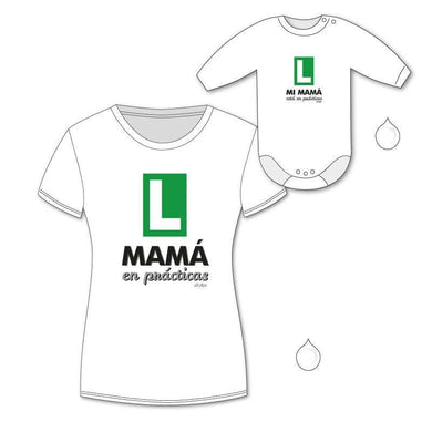 Pack Camiseta + Body Divertidos Mamá en Prácticas