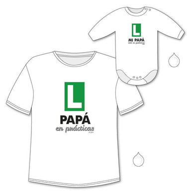 Pack Camiseta + Body Divertidos Papá en Prácticas