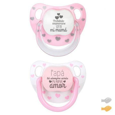 Pack 2 Chupetes Baby Chic Divertido Rosa Mi Pipo - PequeStyle