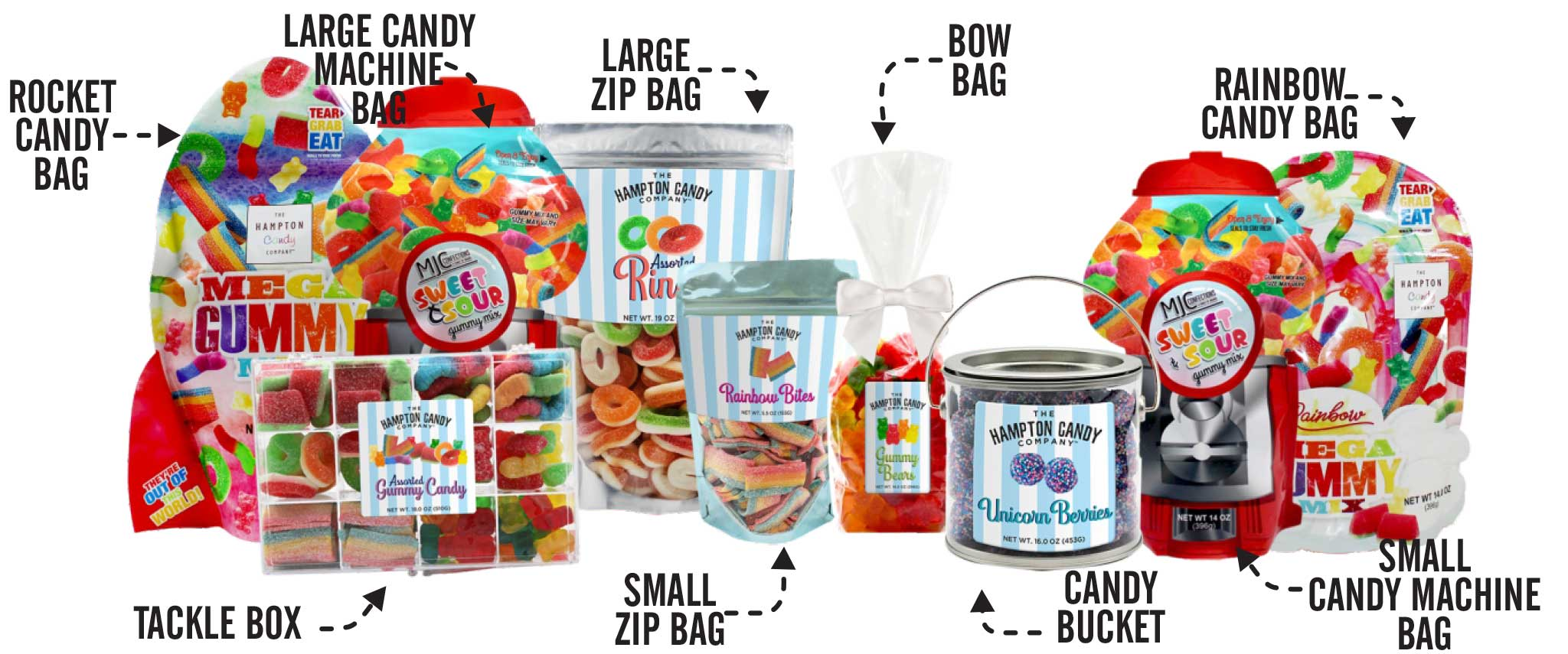 Candy Gifts - Gummy Candy, Candy Buckets, Zip Bags, Tackle Boxes & More