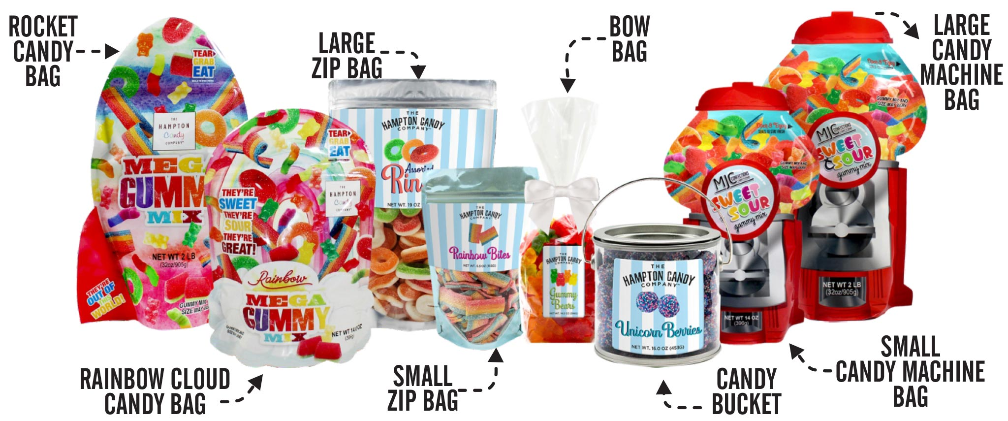 Gummy Candy Collection, Candy Buckets, Zip Bags, Tackle Boxes & More