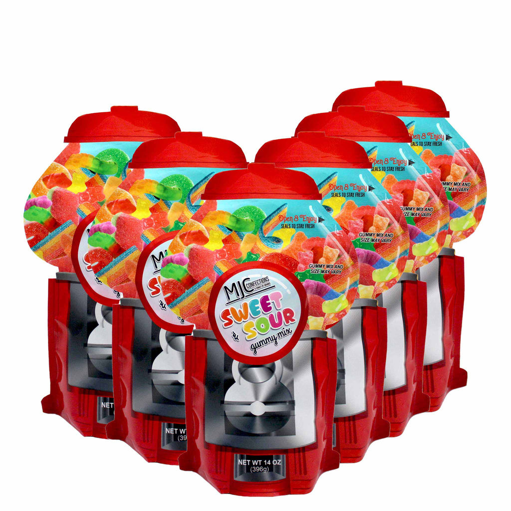 This is a 6 pack of small candy machine bags with assorted candies.