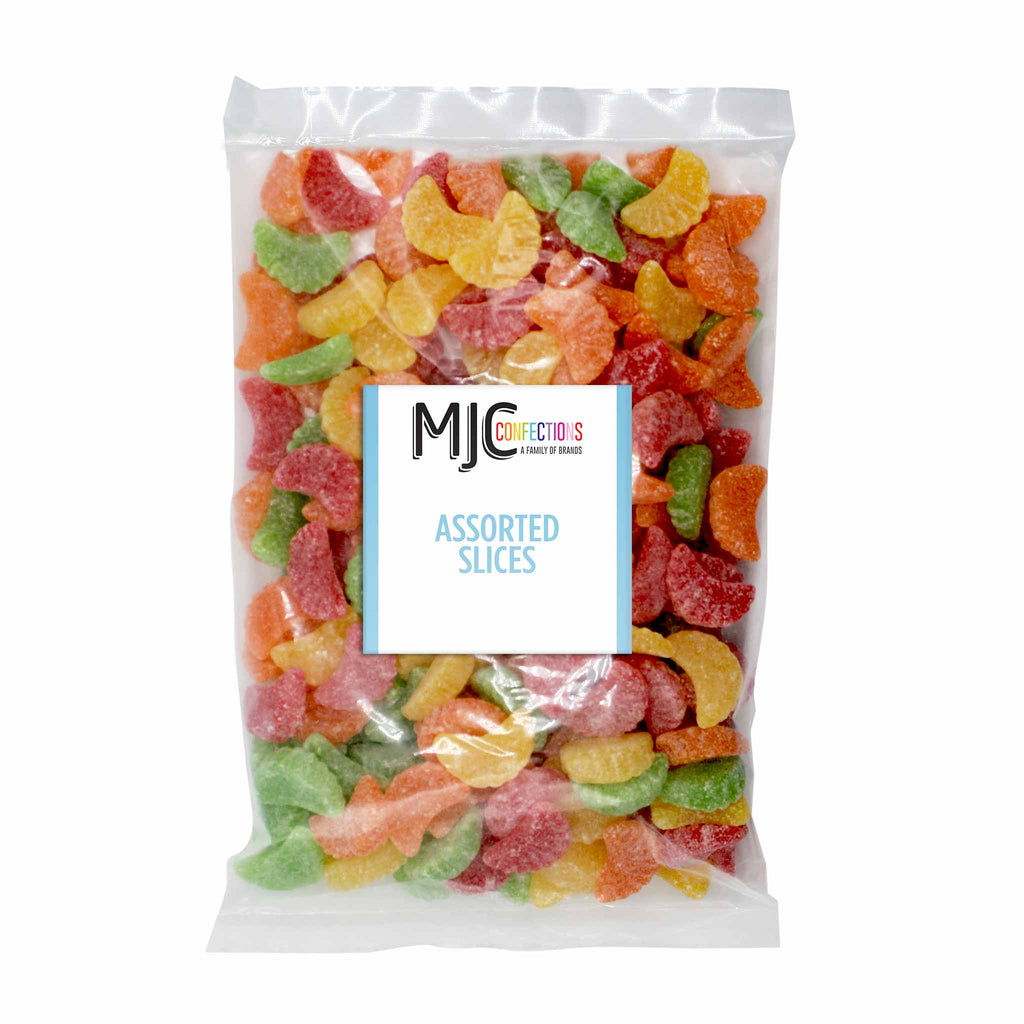 This is a 5 lb. bulk candy bag with assorted fruit slices.