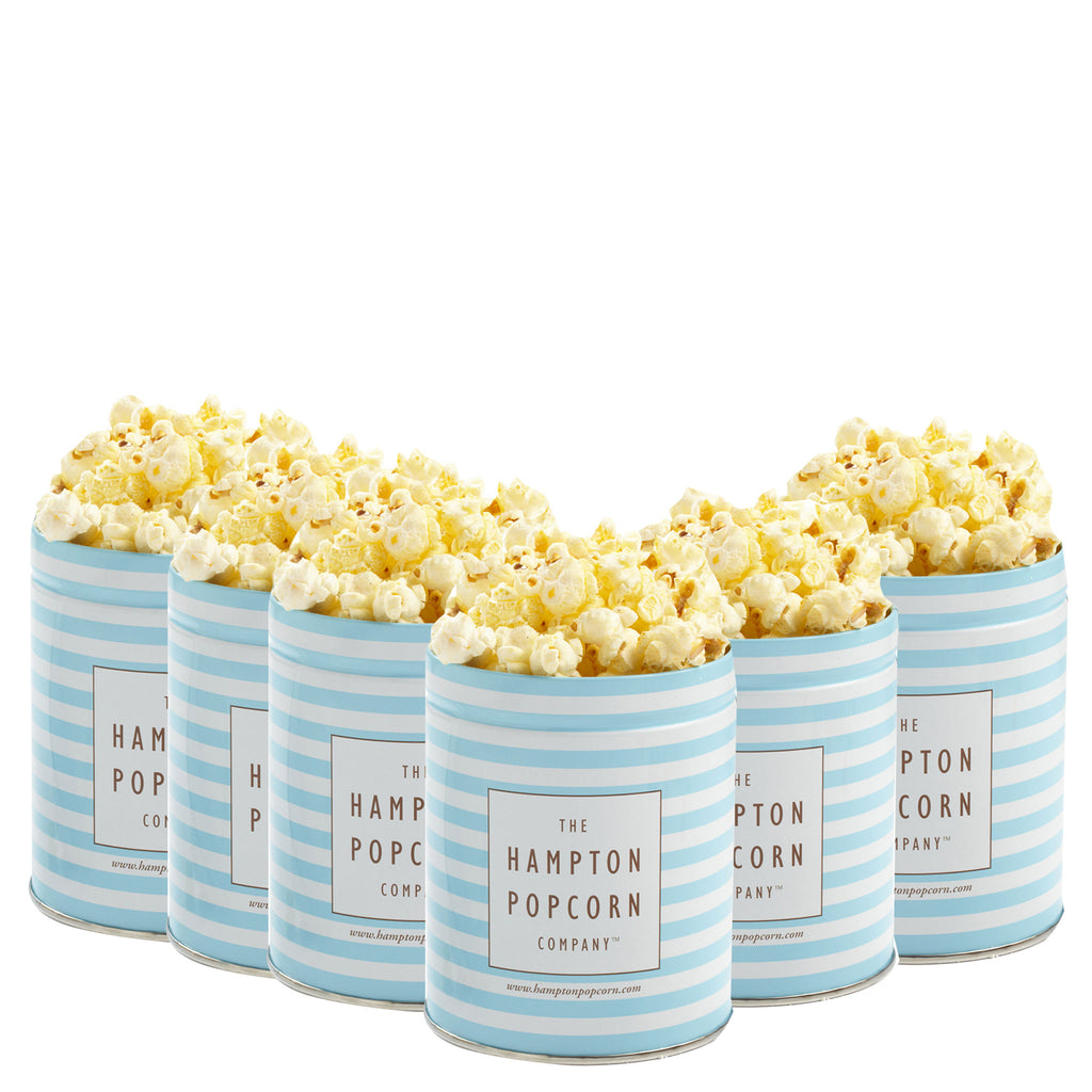 This is a 6 pack of classic quart tins with butter popcorn.